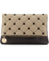 Deux Lux Foldover Spiked Clutch Bag - Lyst