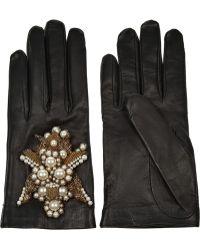 Alexander McQueen - Embellished Leather Gloves - Lyst