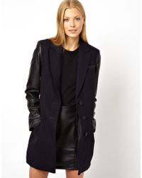 ASOS - Coat with Leather Look Sleeve Zip Detail - Lyst