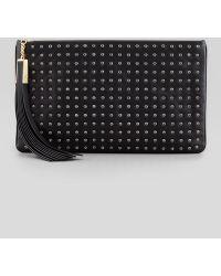 B Brian Atwood - Lana Medium Studded Tassel Clutch Bag Black - Lyst