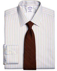 Brooks Brothers Supima Cotton Noniron Regular Fit Twill Framed Stripe Luxury Dress Shirt - Lyst