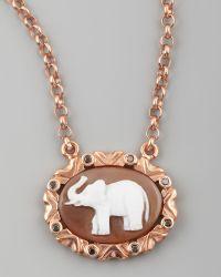 Amedeo - Black Diamond Trim Elephant Cameo Necklace - Lyst