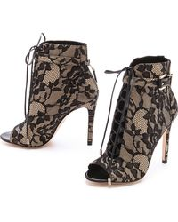 B Brian Atwood Open Toe Lace Up Lace Booties - Lyst