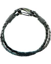 Black.co.uk - Woven Black Leather And Steel Bracelet - Lyst