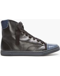 Lanvin Black Leather and Lizard-skin High-top Sneakers - Lyst