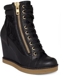 Report - Fife Lace Up Wedge Booties - Lyst