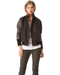 Tess Giberson - Bomber Jacket with Leather Sleeves - Lyst