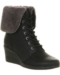 Ugg Zea Shearling Wedge Lace Up Boot - Lyst