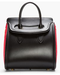 Alexander McQueen Black Leather and Red Suede Heroine Tote - Lyst