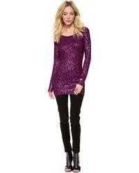 Donna Karan New York Sequins Long Sleeve Tunic - Lyst