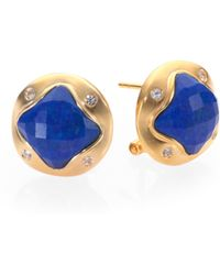 Mija Lapis Lazuli White Sapphire Button Earrings - Lyst