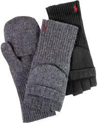 Ralph Lauren - Merino Wool Convertible Mittens - Lyst
