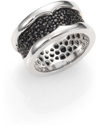 Stephen Webster Sterling Silver and Black Sapphire Ring - Lyst