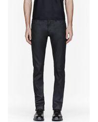 Calvin Klein Black Waxed Denim Serge Jeans - Lyst