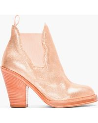 Acne Studios Pink Suede Glitter Gold Star Ankle Boots - Lyst