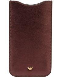 Emporio Armani - Calf Leather Phone Case - Lyst
