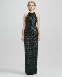Halston Heritage Halter Sequined Jersey Gown - Lyst