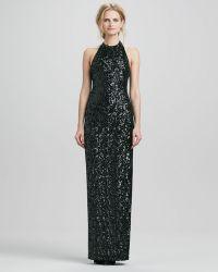 Halston Heritage Halter Sequined Jersey Gown - Lyst