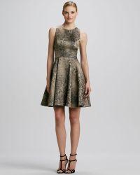ML Monique Lhuillier Animalprint Fitandflare Dress - Lyst
