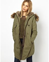 ALDO - Parka London Levina Parka with Detachable Faux Fur Trim - Lyst