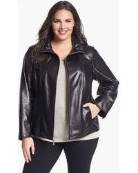 Ellen Tracy Zip Front Leather Scuba Jacket - Lyst