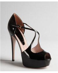 Gucci Black Patent Leather Cutout Platform Peep Toe Pumps - Lyst