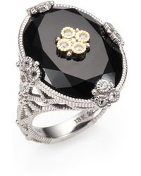 Judith Ripka | Trellis Black Onyx, White Sapphire, 14k Yellow Gold & Sterling Silver Oval Garland Cocktail Ring | Lyst
