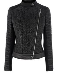 Karen Millen Mixed Quilted Biker Jacket - Lyst
