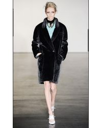 Antipodium - Facade Faux Fur Coat in Charcoal Grey  - Lyst
