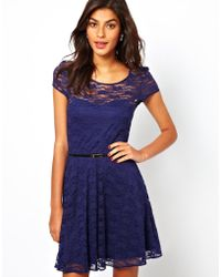 Asos Lace Skater Dress with Short Sleeves and Belt - Lyst