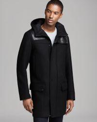 Hugo Boss Marvis Leather Detail Hooded Coat - Lyst