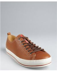 Prada Sport Light Brown Leather Laceup Sneakers - Lyst