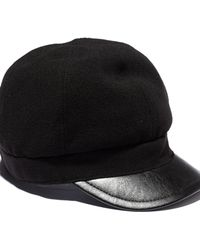 Vince Camuto Wool Cap W Faux Leather Brim - Lyst