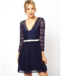 Asos 3/4 Sleeve Lace Scallop Skater Dress - Lyst