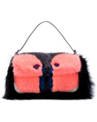 Fendi Owl Baguette Shoulder Bag with Mink and Fox Fur pink - Lyst