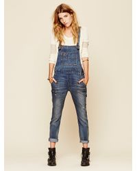 Free People Washed Denim Dungarees blue - Lyst