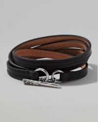 Ippolita - Pelle Sterlingtoggle Leather 4wrap Bracelet in Black Size 2 - Lyst