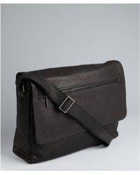 Kenneth Cole Black Leather Front Flap Messenger Bag - Lyst