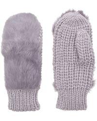 Kurt Geiger - Fur Knitted Mittens - Lyst