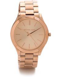 Michael Kors Slim Runway Watch - Rose Gold - Lyst