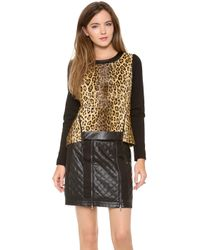 MILLY - Puff Sleeve Leopard Sweatshirt - Lyst