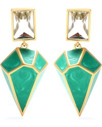 Isharya - Pyramid Luxe 24kt Goldplated Malachite Earrings - Lyst