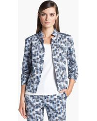 St. John Yellow Label Stamped Cross-hatch Print Sateen Jacket - Lyst