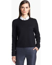 St. John Yellow Label Shoulder Snap Eyelet Knit Sweater - Lyst