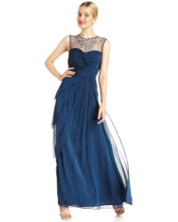 Adrianna Papell Sleeveless Beaded Tiered Gown - Lyst