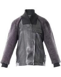 Alexander Wang Mohair Sleeve Bomber Jacket - Lyst