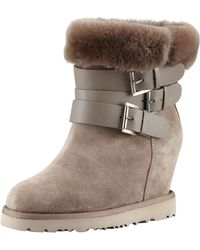 Ash - Yes Shearling-cuff Wedge Boot Topo - Lyst