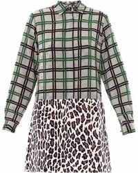 MSGM Contrastprint Silk Dress - Lyst