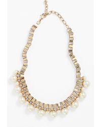 Natasha Couture Faux Pearl Box Chain Necklace - Lyst