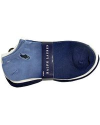 Ralph Lauren - Cotton Blend Ankle Socks Triple Pack in White and Blue - Lyst